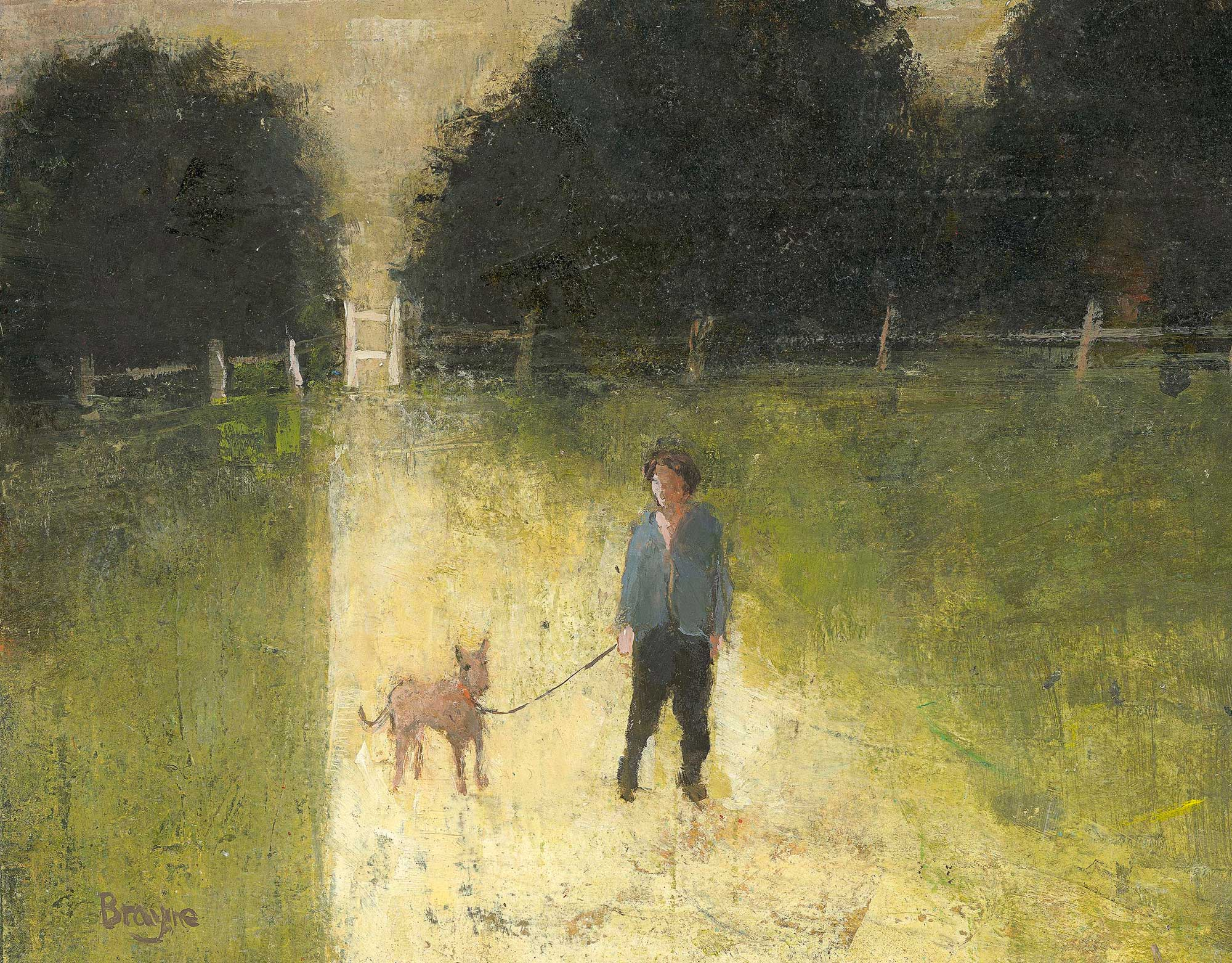 Man and a Dog by David Brayne RWS